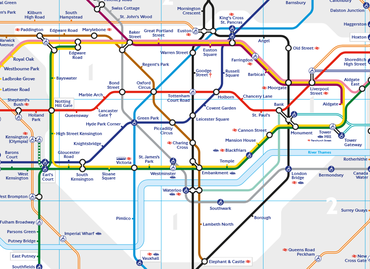 A low resolution image of Zone 1 of Transport for London's London Underground map.