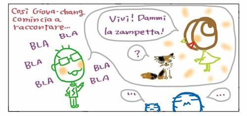 Cosi` Giova-chang comincia a raccontare…  BLA BLA BLA BLA BLA BLA  Vivi! Dammi la zampetta! ? … …