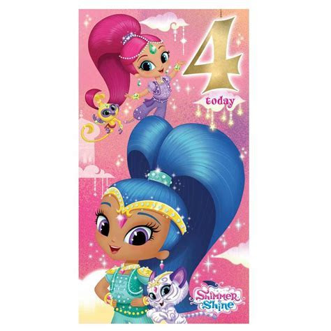 4 Today Shimmer & Shine 4th Birthday Card (SI008