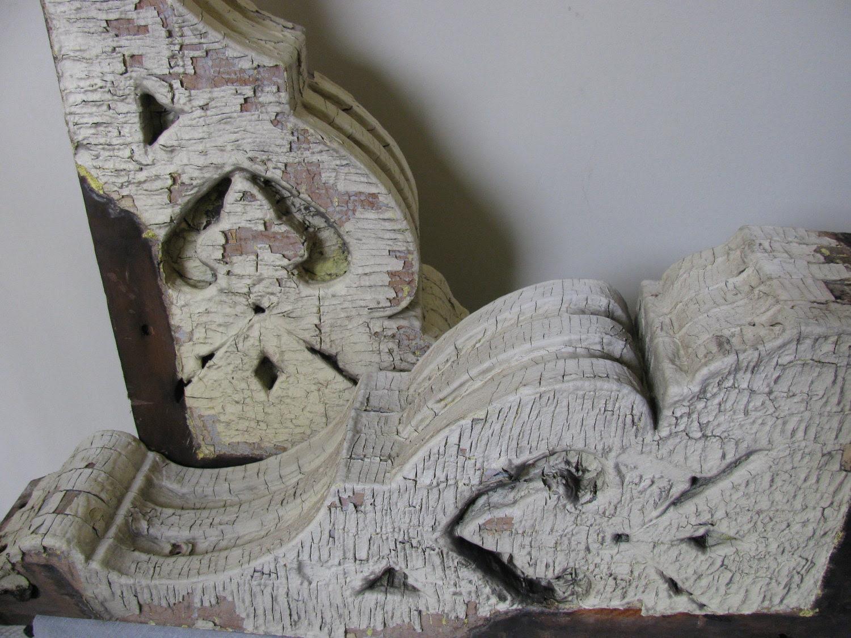ARCHITECTURAL CORBELS PAIR / Large Salvaged Wood Chippy Butter Cream Paint / Fleur de Lis Look