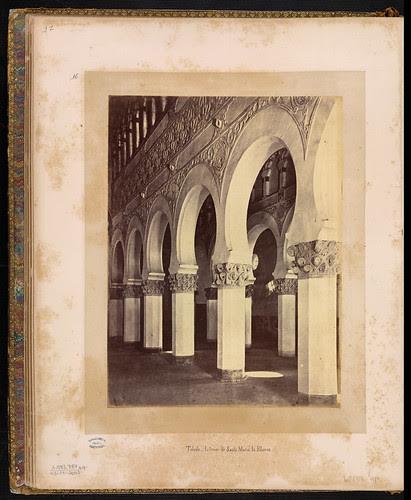 Sinagoga de Santa María la Blanca (Toledo) en el siglo XIX. Foto Jean Laurent. Biblioteca Nacional de Brasil