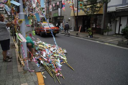 Men preparing the streamers for Tanabata festival