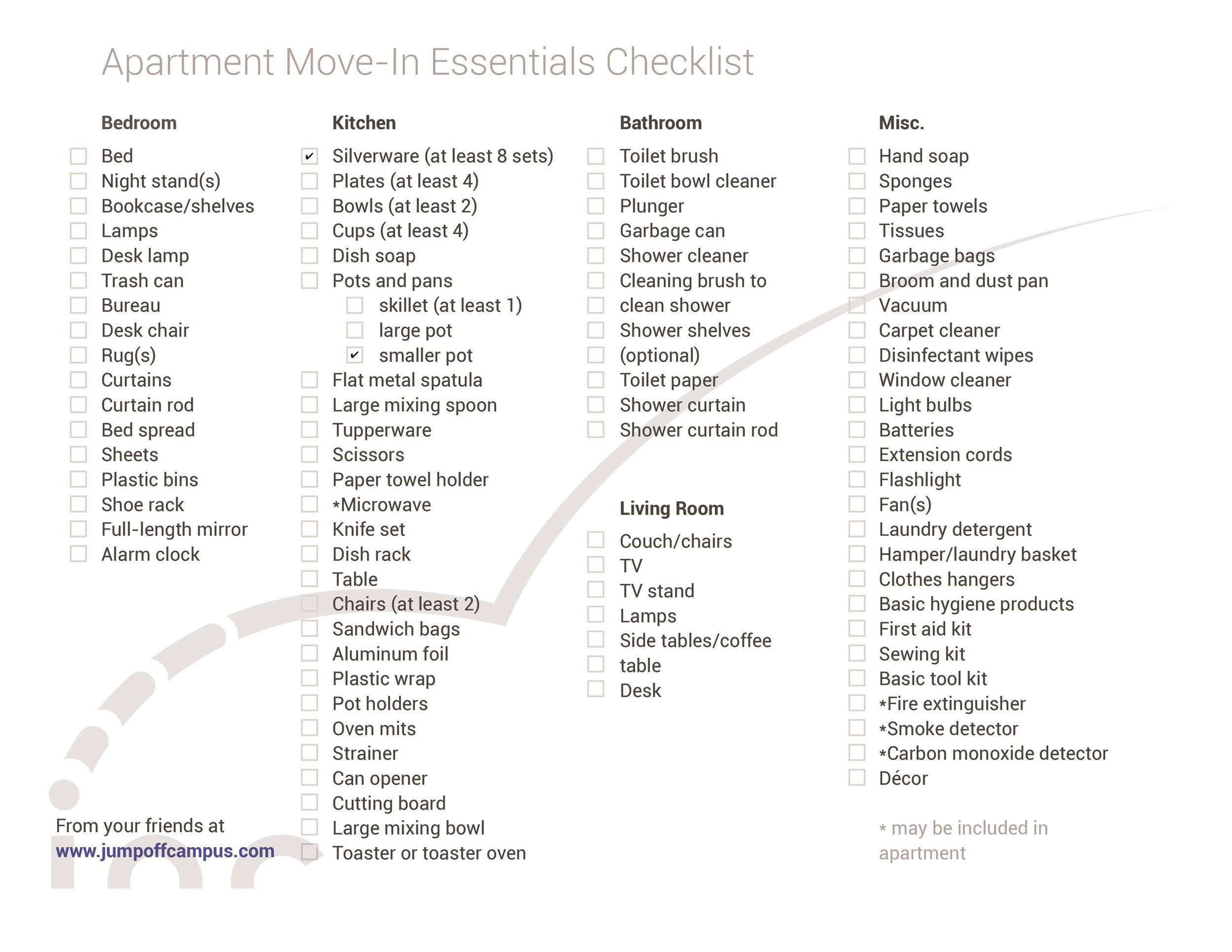 First New Apartment Checklist 40 Essential Templates ᐅ