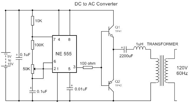 DC to AC Converter using IC 555 - Electronics Mini Project
