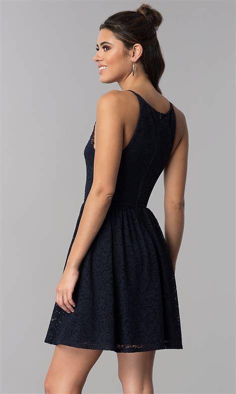 Navy Blue Short Wedding Guest Lace Dress   PromGirl