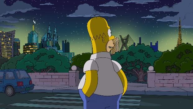 Homer olha para a cidade de São Paulo em novo episódio de 'Os Simpsons' que vai ao ar nesta noite nos Estados Unidos (Foto: Divulgação/Fox)