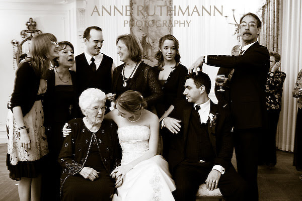 silly family wedding portrait