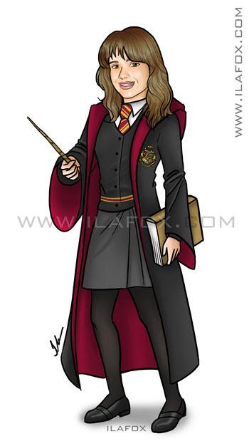 Desenho menina vestida de Harry Potter, uniforme Hogwarts, ilustração by ila fox