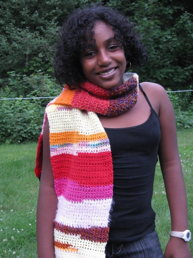 Crochet Bohemian Fashion Scarf - Multi Color - OOAK - Gift Idea