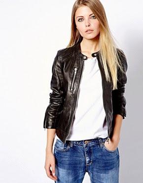Image 1 ofPull&Bear Leather Biker Jacket