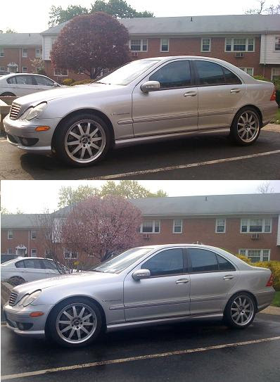Before After Lowering Pic Of C32 Amg Mbworld Org Forums