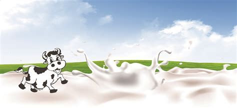 Background Banner Cartoon Cows Milk, Cartoon, Milk, Dairy