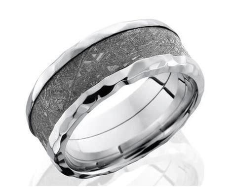Men's Flat Profile Hammered Cobalt Gibeon Meteorite Ring
