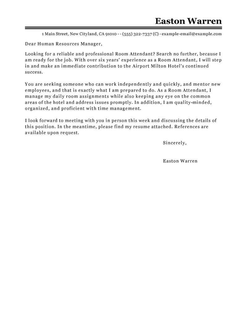 Best Room Attendant Cover Letter Examples Livecareer
