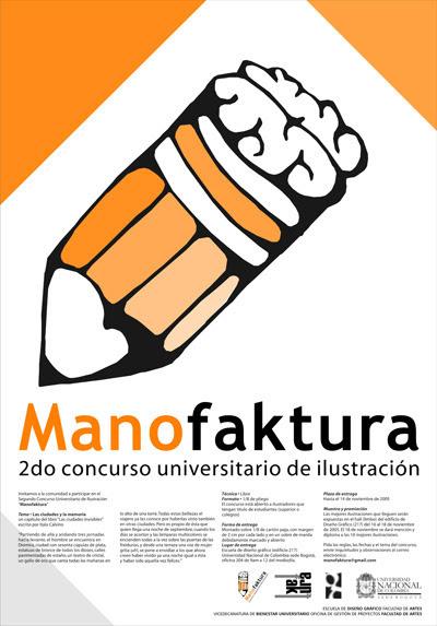Afiche para el concurso de ilustración Manofaktura (diseño de Manuel Pardo)