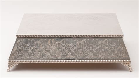 """Wedding Cake Stand   Square Base Silver Plate 16"""" [40.64"""