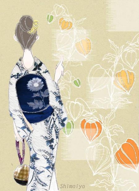 イラストと着物和の花が西洋風に描かれた浴衣に涼やかな紺地に凛と