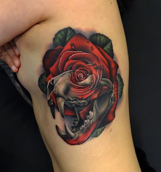 Tiger Skull Rose Fusion Best Tattoo Design Ideas
