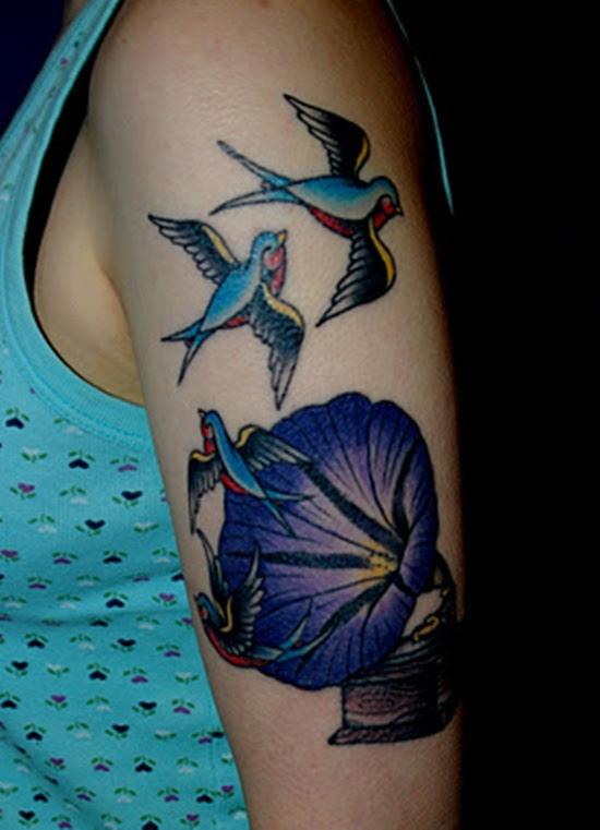 Morning Glory And Swallow Tattoo Design Design Of Tattoosdesign Of
