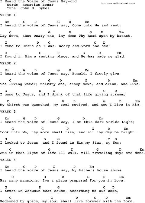 I Heard The Voice Of Jesus Say Lyrics And Chords