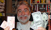 Photo: Mike with his Senior Discount tickets and a fistful of cash!