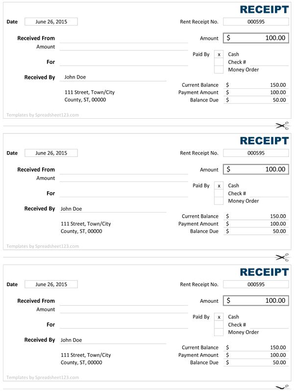 Cash Receipt   Free Cash Receipt Template for Excel