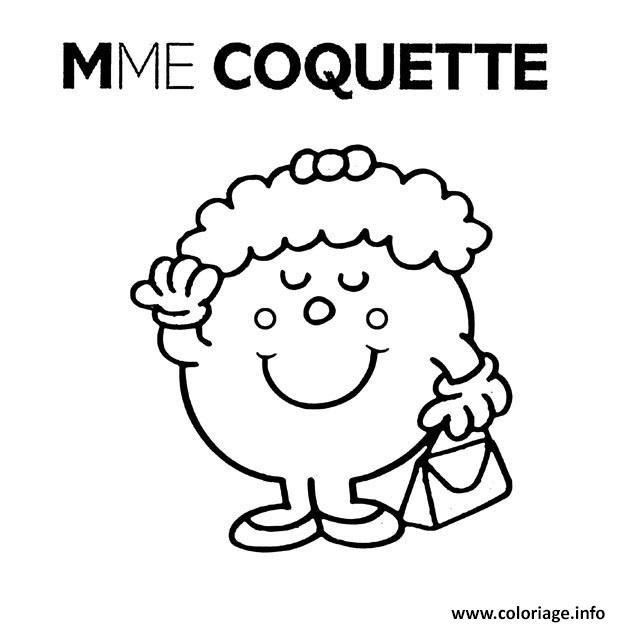 Coloriage Monsieur Madame Mme Coquette Jecoloriecom