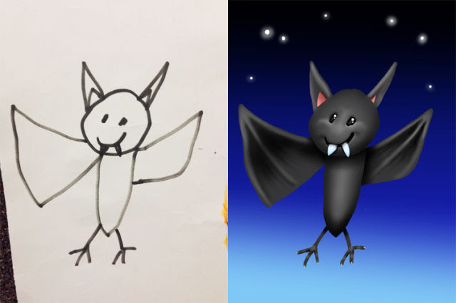 A Creative Dad Colors in His Kid's Drawings for Fun