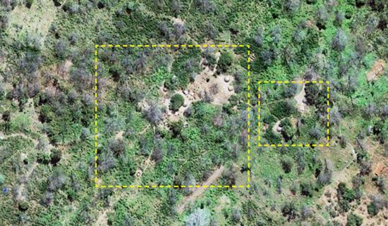 Satellite image of likely LRA camp in Kafia Kingi. Click to see full image . (Photo Credit: Digitial Globe 2013).