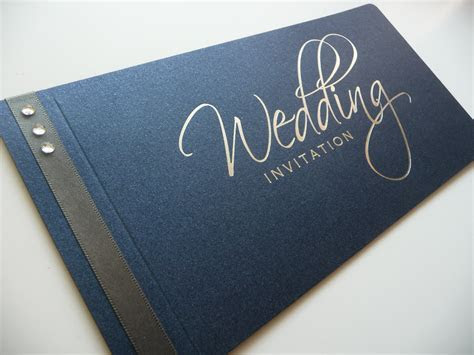 Navy & Silver Foiled Cheque Book Wedding Invitation with