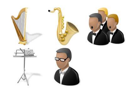 無料素材 オーケストラをテーマにしたイラストアイコンセット