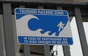 English: A cheery tsunami warning sign at Moon...