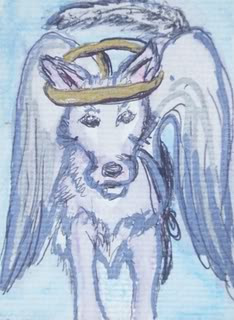 animal, dog, art card, angel, wings, white, halo