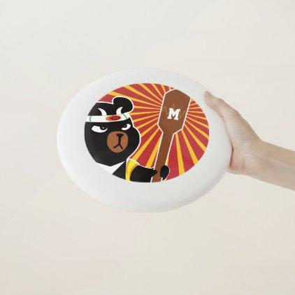 Monogram. Kawaii Cute Ninja Bear for Nerd Geeks. Wham-O Frisbee