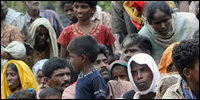 Tamil refugees in internment camp