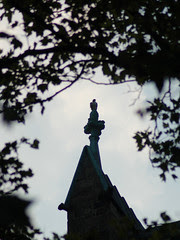 Divine Red-Tailed Hawk atop Cathedral of St. John the Divine