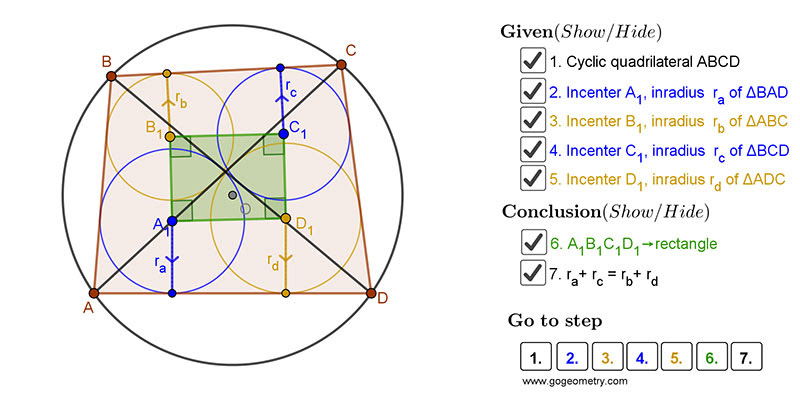 Dynamic Geometry 1452: Japanese Theorem, Sangaku. Using GeoGebra.