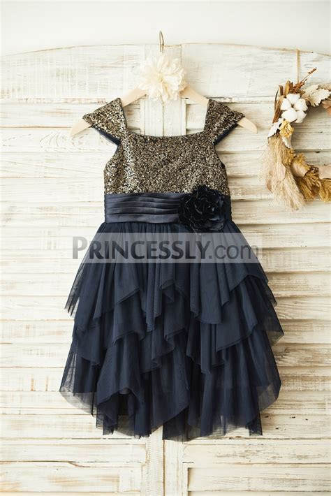 Gold Sequins Cap Sleeves Tiered Ruffles Tulle Flower Girl
