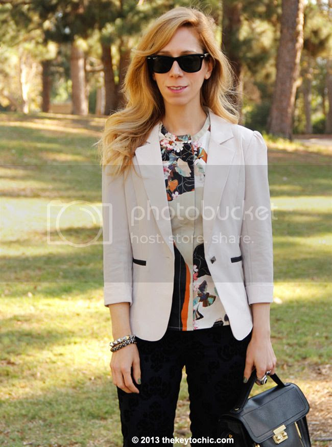 Phillip Lim for Target peplum top in paper floral print, Charlotte Russe beige blazer