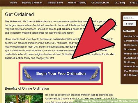 ordained minister   steps