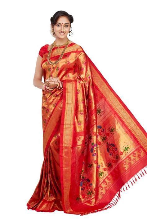 Red Paithani   Paithani Sarees   Saree dress, Bridal silk