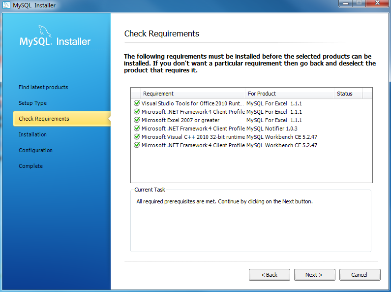 Install MYSQL Step 6 - Checking Requirements