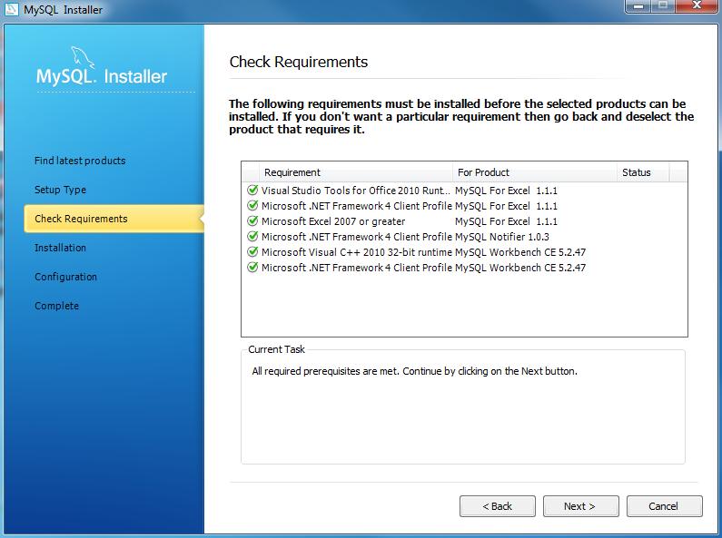 Install MYSQL Step 6 - Checking Requirements
