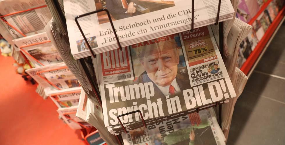 Ejemplares del 'Bild' con una entrevista con el futuro presidente de EE UU, Donald Trump.