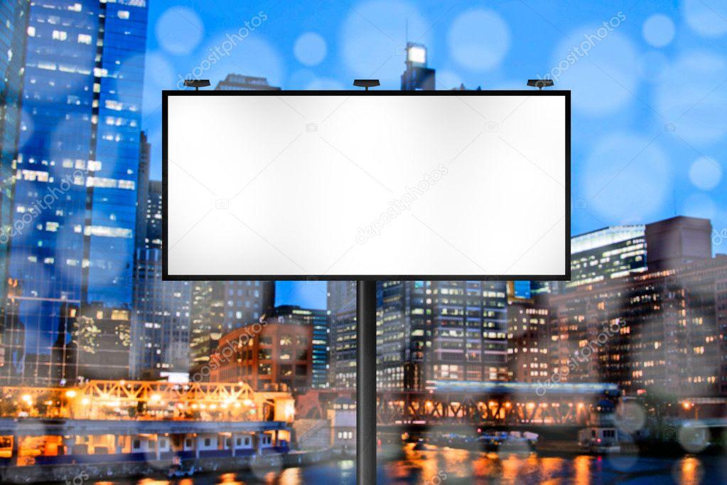 Billboard with Night City Background — Stock Photo © maxym #7315762