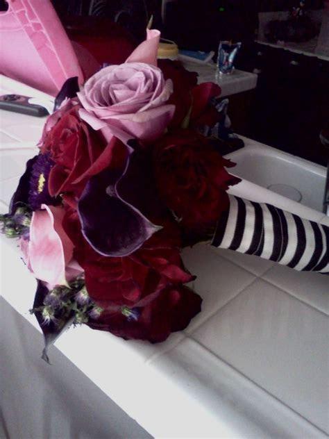 Tim Burton themed wedding, rich color bouquet   Weddingbee