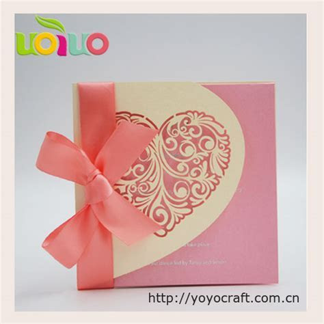 Nice light gold heart wedding invitation card various