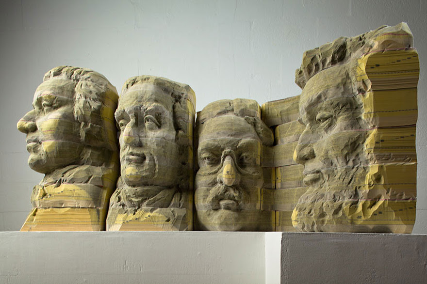 Mount Rushmore Made From Old Phone Books