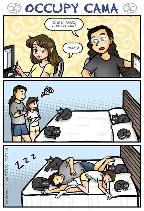 occupy cama, quadrinhos sobre gatos na cama, gatos na cama, by ila fox