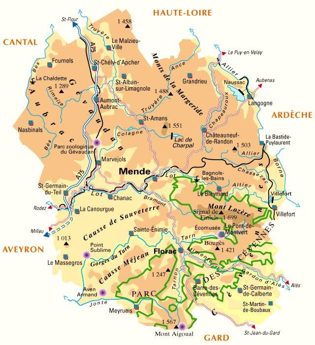 Carte Du Département N 48 Lozere